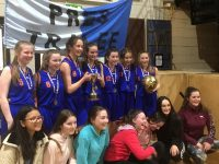 Presentation girls and supporters after winning the U16B National League title at the National Basketball Arena in Dublin yesterday.