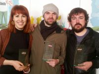 Kerry ETB trainees Ieva Grigaite (3rd), Peter Morrissey (2nd) and Noel McElligott (1st) who had a clean sweep in the Adult category at the LiveLife Film Competition Awards this week.