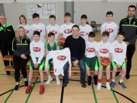 Terry Healy (second from right) of Terry's Butcher's Oakpark presented jerseys to the Under 14 Mercy Mounthawk Basketball Team on Friday. Also included are assistant coaches Lyndsey Moriarty and Jimmy Diggins and Head Coach John Dowling. Photo by Dermot Crean