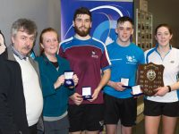 William Flaherty, Munster Badminton Representative, along with Runners Up Jill Redmond, Listowel, Aidan Kennelly, UL Limerick and Winners of the Mixed Doubles Graduates Competition Tiernan Lawlor UL Limerick & Niamh Hickey Killarney, at  the Munster Graduate Badminton Competition at Killarney Sports & Leisure Centre.