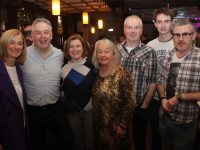 John Herlihy (second left) with Radio Kerry colleagues Deirdre Walsh, Elma Nix, Eileen Moynihan, Trevor Galvin, Matthew Green and Shane O'Connor at his farewell party in The Ashe Hotel on Friday night. Photo by Dermot Crean