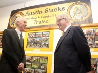 County Librarian Tommy O'Connor with Austin Stacks GAA Chairman Liam Lynch at 'Ag Féachaint Siar', the Austin Stacks Centenary Celebrations exhibition at Tralee Library on Tuesday. Photo by Dermot Crean