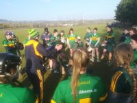 Stephen Goggin speaks to the Kerry Camogie team after victory over Clare.