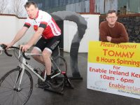 Tommy Sheehy who will be spinning for Enable Ireland at various locations in Kerry in the coming weeks, with Sean Scally of Enable Ireland Kerry. Photo by Dermot Crean