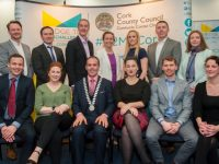 Free pic - No repro fee Pictured at Cork County Hall with Mayor of Cork County, Cllr. Declan Hurley and Brittany McDonough, Director of Global Partnerships at MassChallenge (on right of County Mayor) for the closing ceremony of Bridge to MassChallenge Cork boot camp, were the 12 successful start-ups that will advance to the next stage of the international competition. Over fifty Irish start-ups applied to the competition, twenty were shortlisted to take part in a three-day intensive boot camp in Cork and these 12 successful start-ups will advance to a week-long all expenses paid boot camp in Boston in April 2018. From this, the top two companies will be selected to go forward to second round judging for one of MassChallenge's international accelerators. See www.corkcoco.ie/b2mccork #B2MCCork The twelve successful companies were: Alcass Health Solutions Ltd; BioBind; CroiValve; CortechsConnect; Gasgon Medical; Hidramed Solutions Ltd; Marion Surgical; Medrec.io;  myAccessHub;  Nasal Medical; Remedy Biologics Ltd; ViClarity. Pic: Brian Lougheed