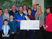 At the Ballymac GAA Strictly Love Dancing cheque presentation were back left .. Ann Lynch, Noelle O'Brien ( PRO) Thomas Wharton ( Dancers Sponsor ) Elayne Jones, Jer Lynch ( Chairman)  Front row from left  - Terence O'Connor, Michelle Lynch , Grace Sheehan ( Principle ) and Eileen O'Shea