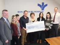 At the presentation of a cheque from the Bon Secours to the UHK Chemotherapy Unit fund were, from left; Hospital Mission Leader at Bon Secours Owen McCarthy; Lana Raftery, Jack Diggins, Joseph Diggins, Mary Fitzgerald UHK, Teresa Walsh UHK, Elsa Cenaj and Manager of Bon Secours Tralee, TJ O'Connor. Photo by Dermot Crean
