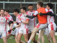 Pobalscoil Chorca Dhuibhne players elated at the final whistle. Photo by Dermot Crean