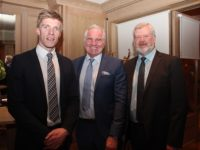Tommy Walsh, after dinner speaker, Brent Pope and Eoin Liston at the Business Leaders Ball at Ballygarry House Hotel on Thursday night. Photo by Dermot Crean