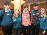 Mercy Mounthawk students Joe Hanafin, Niamh Ferris, Carl Fitzgibbon, Luke O'Carroll and Riadh O'Sullivan at Céiliúradh na nÓg in The Brandon Hotel on Wednesday. Photo by Dermot Crean
