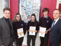 Colaiste Gleann Lí students Rachel Dunne, Aisling Quirke and Ethan Byrne with their Junior Certificate Profile of Achievement with Deputy Principal Liam McGill and Principal Richard Lawlor. Photo by Dermot Crean