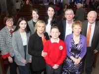 Derryquay NS pupil Thomas Sheehy, with Marie Nolan, Caoimhe Nolan, Vicky Sheehy, Yvonne Doherty, Ashley Campbell, Tom Sheehy, Pauline Doherty and John Doherty at his Confirmation in St John's Church on Thursday. Photo by Dermot Crean