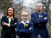 Repro Free: 22/02/2018 Bobby Kerr and Norah Casey with young businesswoman Alex (9) from Rathgar urging the business community to show their support for cancer patients by getting involved in Daffodil Day on March 23rd. On Daffodil Day, proudly supported by Boots Ireland, businesses can help raise funds by hosting a fundraising event at work or by volunteering to sell daffodils. For more info see www.cancer.ie Picture Andres Poveda