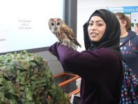 Miriam Sinani with a feathered friend  at the Kerry College Of Further Education open day. Photo by Dermot Crean