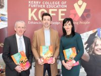 Colm McEvoy, CEO of Kerry ETB, Aidan O'Mahony  and Principal of Kerry College of Further Education, Mary Lucey, at the launch of the college's 2018/2019 Prospectus on Tuesday. Photo by Dermot Crean