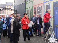 Mayor Norma Foley and councillors visiting the mural on Milk Market Lane on Friday morning. Photo by Dermot Crean