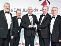 Eoin Liston, Philip Sicat, Denis Murphy and Mark Corkery collect their Life & Pensions Broker of the Year Award from Aidan McLoughlin ITC at the fifth annual Life, Pensions and Investment (LPI) Industry Awards in the Mansion House, Dublin, last Thursday night (22nd of March).
