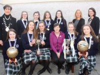In front; Aoife Hickey, Mary O'Connell, Aisling O'Connell, Coach Del White, Rachel Kilgallen, Alannah O'Sullivan. Back from left; Mayor of Tralee and Presentation teacher Norma Foley, Lisa Curran, Maryanne Fleming, Sarah Barrett and Ciara Rath, Principal Chrissie Kelly and Deputy Principal Sandra Moore. Photo by Dermot Crean