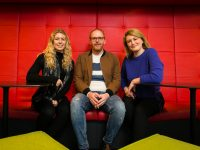 Rebecca Walsh, Programme Manager for Adopt A Startup with Shane Hassett and Mariana Kobal of Wazp at Google's EMEA headquarters in Dublin last night for the launch of Google's Adopt A Startup programme. Companies will attend an exclusive programme of lectures and workshops as well as receiving hands on mentoring from experienced Google employees over the next 12 weeks.