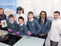 Catriona Py Collins, Paul Cotter of Tralee Culinary Gangsters, pupils Barry Nagle, Leon O'Connor, Tomás Kennedy, Bitania Yosef and Kevin O'Connor, of Tralee Culinary Gangsters at the launch of the Spring Cookery Demo to take place in Ballyroe Heights Hotel next week. Photo by Dermot Crean
