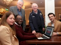 At the relaunch of the new St Pat's GAA club website at then Station House on Friday evening were Marie Fitzgibbon, Dipo Dairo (PRO), Jimmy Mulligan (Chairman), Tadhg O'Halloran (Club Delegate) and special guest Aidan O'Mahony. Photo by Dermot Crean