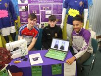 Tralee CBS students Sean Quilter, Darragh Reen and Michael Everett with their Tight Fit Jerseys entry at the Student Enterprise Awards in IT Tralee on Friday. Photo by Dermot Crean