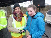 Niamh O'Mahony (1st in 5k) with Caroline O'Carroll. Photo by Dermot Crean