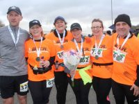 Kieran Finn, Helen Nolan Finn, Louise Porter, Nia Mansfield, Anna Sheehy and Kieran Nolan at the finish line. Photo by Dermot Crean