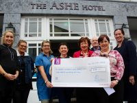 At the presentation of a cheque to the Cashel Childrens Ward at the Ashe Hotel on Monday morning were, from left; Leonie Flaherty (The Ashe Hotel), Kellie Sheahan (Tralee Chamber Alliance), Jane Boyle (The Ashe Hotel), Jackie McCull (Cashel Ward), Mary Fitzgerald (Cashel Ward), Aidan Kelly (Tralee Chamber Alliance), Angela Hickey (Cashel Ward) and Ruth O'Sullivan (Group Manager The Ashe Hotel). Photo by Dermot Crean