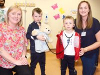 Oisín and Sean Óg with Orla Brennan and Dr Eilish Broderick, Head of the International Medical Commencement programme at ITT, at the 'Teddy Bear Hospital' event on Sunday. Photo by Dermot Crean