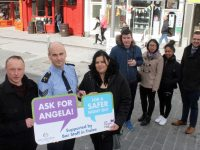 Launching the 'Ask For Angela' campaign in Tralee on Friday were, Danny Leane of The Abbey Inn, Sgt Tim O'Keeffe, Bernie Moore of An Chearnóg, IT Tralee students Tomás Duane, Jacy Ybanez and Febielyne Nicolas and David Scott of Tralee Chamber Alliance. Photo by Dermot Crean