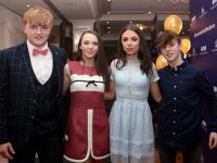Kian Ó Riagáin, Eve Ní Chriodáin Amy Ní Mháirtín and Sean Ó Murchú at the Gaelcholáiste Chiarraí Transition Year students' Fashion Show in The Rose Hotel on Thursday night. Photo by Dermot Crean