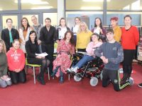KCFE students with Principal Mary Lucey and speakers at the Self-Care Day, Aidan O'Sullivan, Brighid Daly and Margaret O'Connor. Photo by Dermot Crean