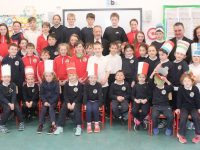 Derryquay NS pupils and teachers with Sean Kelly MEP at the school on Friday. Photo by Dermot Crean