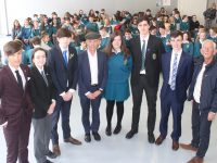 Deputy Michael Healy Rae with  Chairpeople of the Mercy Mounthawk European Youth Parliament event, David Fitzgerald, Mary O'Connell, Danny Sheehy, Mairead Kearney, Darragh Clark, Sean Hennessy and Cllr Sam Locke. Photo by Dermot Crean