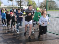 Students set off on the 5k run on Wednesday. Photo by Dermot Crean