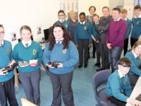 Mercy Mounthawk pupils with new IT equipment bought by funds raised by the Parents Council. Also included is Elaine Clancy, Parents Council, Kathleen Holmes, Chairperson of Parents Council, Shane Kissane, Deputy Principal and Will Nolan, IT/Computing teacher. Photo by Dermot Crean