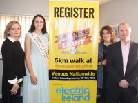 Rose of Tralee Jennifer Byrne, gives her support to the Darkness Into Light Walk when she visited the Tralee centre on Thursday. Also  included is Centre Manager Cora O'Brien, Maureen Curtin (Clinical Support and Con O'Connor of Pieta House. Photo by Dermot Crean