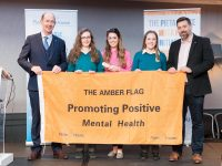 17/05/2018 - REPRO FREE - National suicide prevention charity, Pieta House, today awarded its Amber Flag to over 80 schools, colleges, clubs, and societies, recognising their individual efforts to create healthy, inclusive environments that support mental wellbeing. To be awarded the Pieta House Amber Flag, applicant groups must host a mental health awareness event, a fundraiser, and a mental health initiative. The programme encourages teamwork and student contributions and works with school guidance counsellors to include a peer-support element. Pictured at the event are Mercy Secondary School, Mounthawk, Tralee, Co. Kerry, receiving their certificate and amber flag from Programme Co-Founder Frank Mulvhill (L) & CEO Pieta House, Brian Higgins (R). Picture: Michael O'Sullivan/OSM Photo