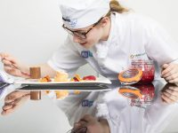 10/05/18 REPRO FREE Isabelle Lynch from Mercy Mounthawk, Tralee, Co Kerry with her award winning dark chocolate mousse with raspberry sorbet, honeycomb shards, shortbread crumb and filled profiteroles.  The 16 year old came second in the sixth Apprentice Chef Programme final sponsored by Flogas Ireland and Fáilte Ireland at the Institute of Technology Tralee on Thursday 10 May 2018.  Picture Sean Curtin True Media.