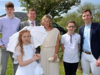 Tara Dowling and family Patrick, Rita, Pat, James and Sean at the First Holy Communion Day for Blennerville school pupils in Curraheen on Saturday morning. Photo by Dermot Crean