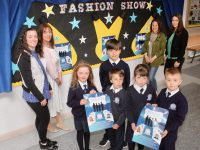 Pupils from St Brendan's NS Blennerville looking forward to the fashion show with teacher Sorcha Ryan. Colette Price and Gráinne Smith of the Parents Council and teacher Olivia Ní She. Photo by Dermot Crean