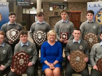 Subject award winners, in front; Michael O'Donnell (Irish), Darragh O'Brien (Maths, Physics, Economics, Geography, German) Principal Anne O'Callaghan, Stephen Gannon (DCG and Chemistry) and Cathal Murphy (History). Back row left to right; Dylan Kildea McConnell (Business), Leon Dunne Hourigan (Construction Studies), John Walsh (LCVP), Hugh Healy (French, English, Biology).
