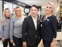 Alan Pan with CH Tralee staff Ciara Cashan, Sharon Houlihan and Karen Corridon at the CH Tralee Alan Pan Estee Lauder Masterclass on Wednesday evening. Photo by Dermot Crean