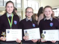 Katelyn Kearney (Excellent Attendance), Karolina Szlapka (Diligence) and  Andrea Foley (Overall Positive Progress) at the Coláiste Gleann Lí awards on Thursday. Photo by Dermot Crean