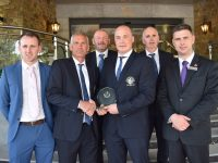 A presentation was made to Derek O'Shea (second left) by John Ross (fourth from left), Chairman of the Kerry Irish Soccer Referees Society at The Rose Hotel. Alsoncluded are Seamus O'Mahony (Kerry ISRS), Owen Moynihan (Kerry ISRS) and David Fizgerald, The Rose Hotel.