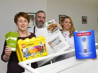 Breda O'Dwyer from IT Tralee/CEED co-sponsors Lego Serious Play Workshop, John Harty representing Taste Kerry, and School Prize workshop worth €500 and Niamh Quinn  representing Astellas, sponsors of the Wacky Science Pod and Jr Lab School Prize of €500.