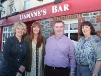 Carol Barry, Tracy Bolger, host Dan Horan and Helen Geary at the table quiz in aid of Recovery Haven at Linnane's Bar on Friday night. Photo by Dermot Crean