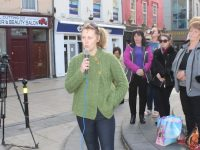 Emma Nic Mhatúna addressing the crowd. Photo by Dermot Crean