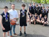 Coach and teacher, Donal Ó Ruanaidh, with the Junior Boys team who won the All-Ireland B Schools title last week. Photo by Dermot Crean